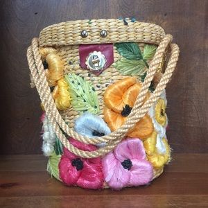 Vintage Floral Basket Purse